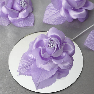 12pcs Lavender Mini Satin Ribbon Rose Flower Pearl Spray Wedding Appliques Sewing Decor Craft Supplies