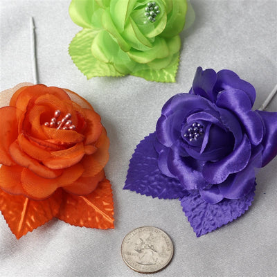 12pcs Orange Mini Satin Ribbon Rose Flower Pearl Spray Wedding Appliques Sewing Decor Craft Supplies