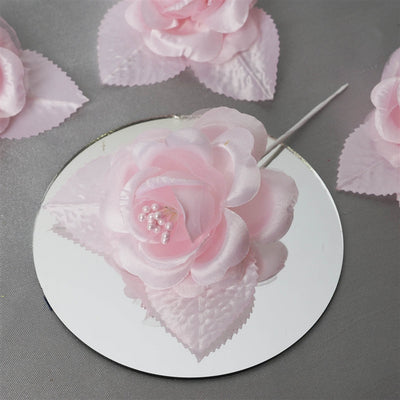 12pcs Pink Mini Satin Ribbon Rose Flower Pearl Spray Wedding Appliques Sewing Decor Craft Supplies