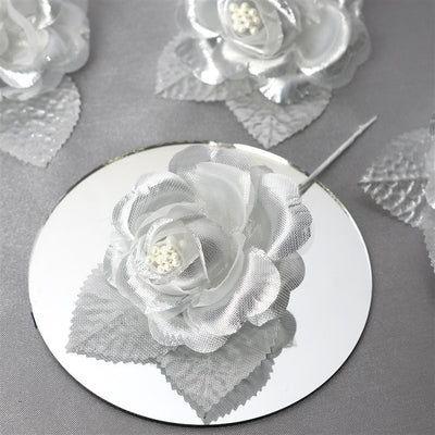 12pcs Silver Mini Satin Ribbon Rose Flower Pearl Spray Wedding Appliques Sewing Decor Craft Supplies