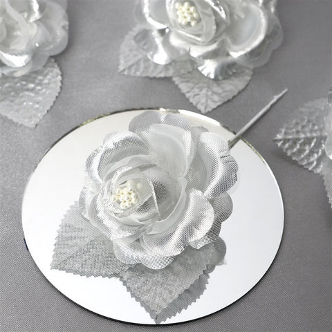 12 ACCENT Bellissimo Craft Roses - Silver