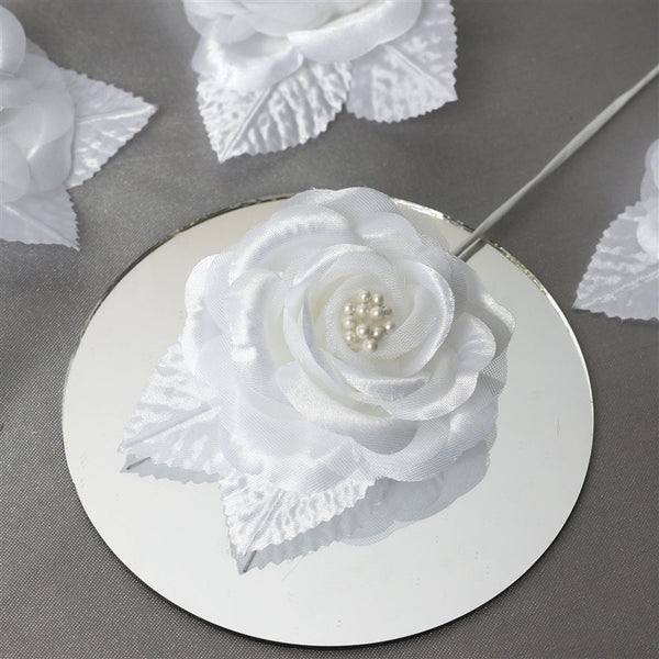 12pcs White Mini Satin Ribbon Rose Flower Pearl Spray Wedding Appliques Sewing Decor Craft Supplies