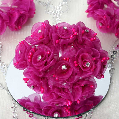 72 EXTRA SPOTLIGHTS Rhinestone & Roses for Craft - Fushia