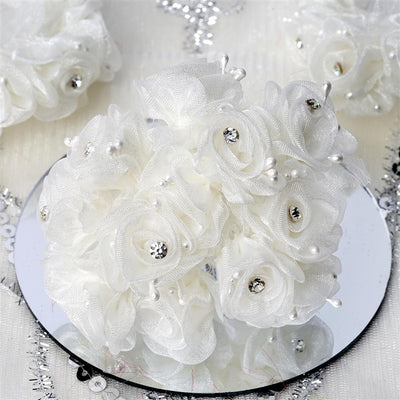 72 EXTRA SPOTLIGHTS Rhinestone & Roses for Craft - Ivory