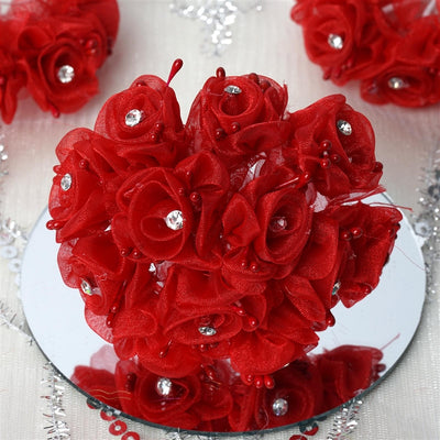 72 EXTRA SPOTLIGHTS Rhinestone & Roses for Craft - Red