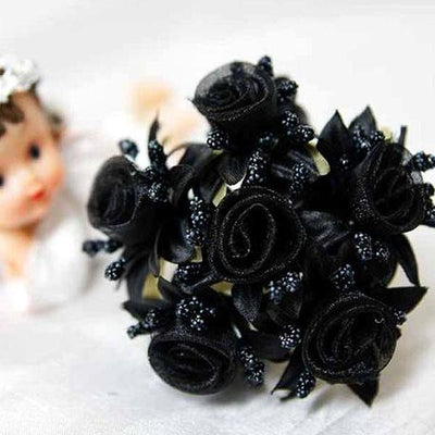 72 Shimmering Organza Rose Craft Flowers - Black( Sold Out )