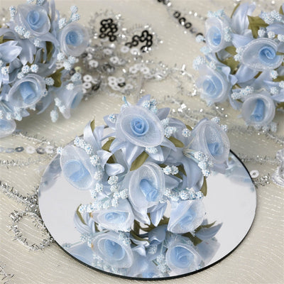 72 Artificial Light Blue Fall DIY Shimmering Organza Rose Craft Flowers Baby Breath For Favor Decoration