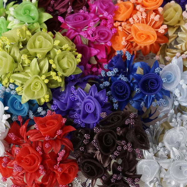 72 Artificial Navy Blue Fall DIY Shimmering Organza Rose Craft Flowers Baby Breath For Favor Decoration