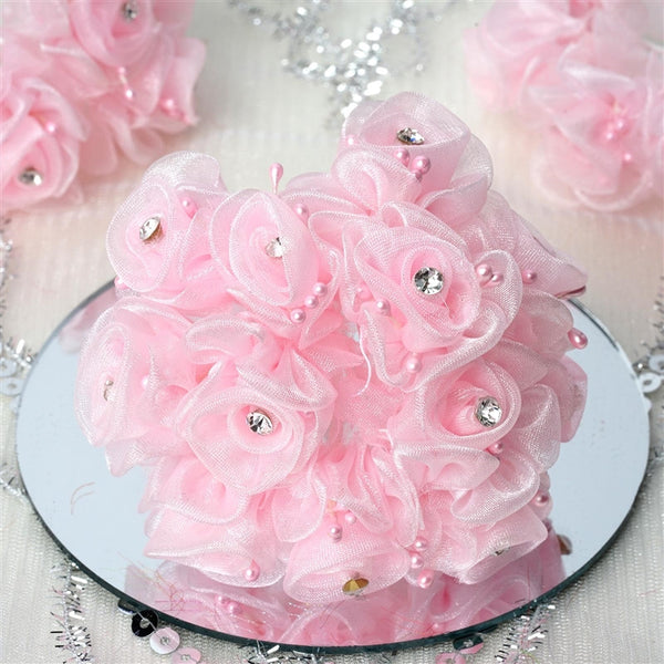 72 Artificial Pink Fall DIY Shimmering Organza Rose Craft Flowers Baby Breath For Favor Decoration