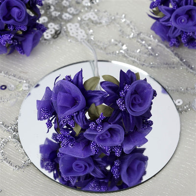 72 Shimmering Organza Rose Craft Flowers - Purple