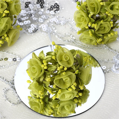 72 Shimmering Organza Rose Craft Flowers - Sage Green