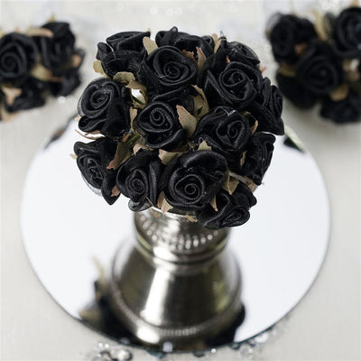 72 Black Satin & Organza Craft Roses With Silk Leaves DIY Wedding Bouquet Flowers Decoration