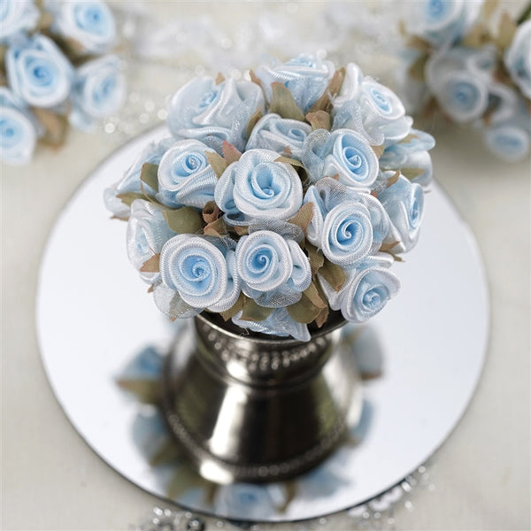 72 Light Blue Satin & Organza Craft Roses With Silk Leaves DIY Wedding Bouquet Flowers Decoration