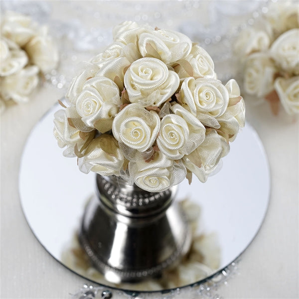 72 Ivory Satin & Organza Craft Roses With Silk Leaves DIY Wedding Bouquet Flowers Decoration