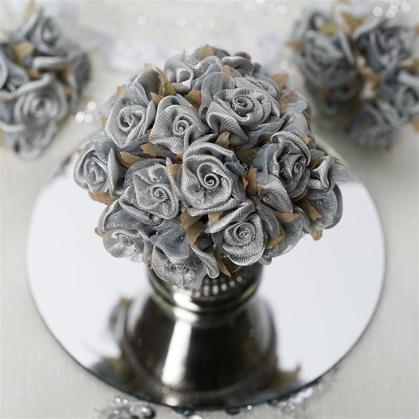 72 Silver Satin & Organza Craft Roses With Silk Leaves DIY Wedding Bouquet Flowers Decoration