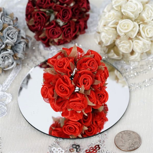72 White Satin & Organza Craft Roses With Silk Leaves DIY Wedding Bouquet Flowers Decoration
