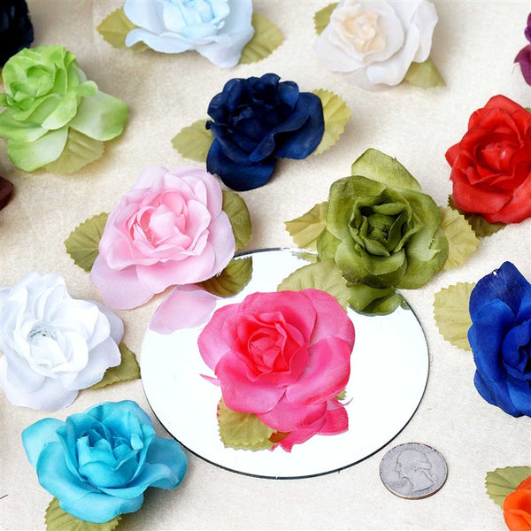 12pcs Light Blue Mini Silk Ribbon Rose Flower Leaf Wedding Appliques Sewing Decor Craft Supplies