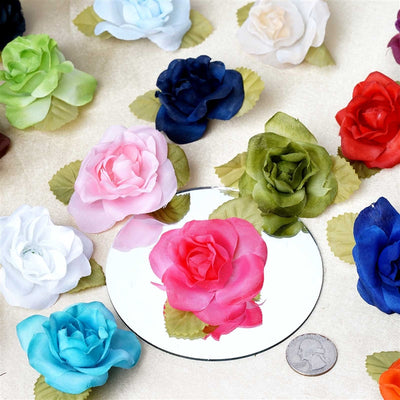 12pcs Turquoise Mini Silk Ribbon Rose Flower Leaf Wedding Appliques Sewing Decor Craft Supplies