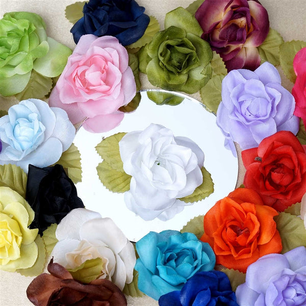 12pcs White Mini Silk Ribbon Rose Flower Leaf Wedding Appliques Sewing Decor Craft Supplies