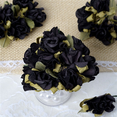 60 Black Mini Paper Rose Flowers Corsage and Boutonniere Wedding Home Craft Decor