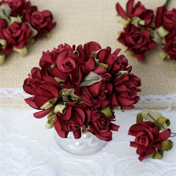 60 Burgundy Mini Paper Rose Flowers Corsage and Boutonniere Wedding Home Craft Decor