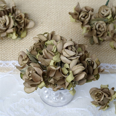 60 Champagne Mini Paper Rose Flowers Corsage and Boutonniere Wedding Home Craft Decor