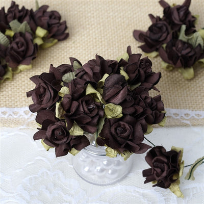 60 Chocolate Mini Paper Rose Flowers Corsage and Boutonniere Wedding Home Craft Decor