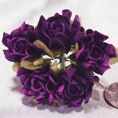 60 Eggplant Mini Paper Rose Flowers Corsage and Boutonniere Wedding Home Craft Decor