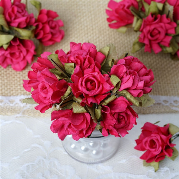 60 Fushia Mini Paper Rose Flowers Corsage and Boutonniere Wedding Home Craft Decor