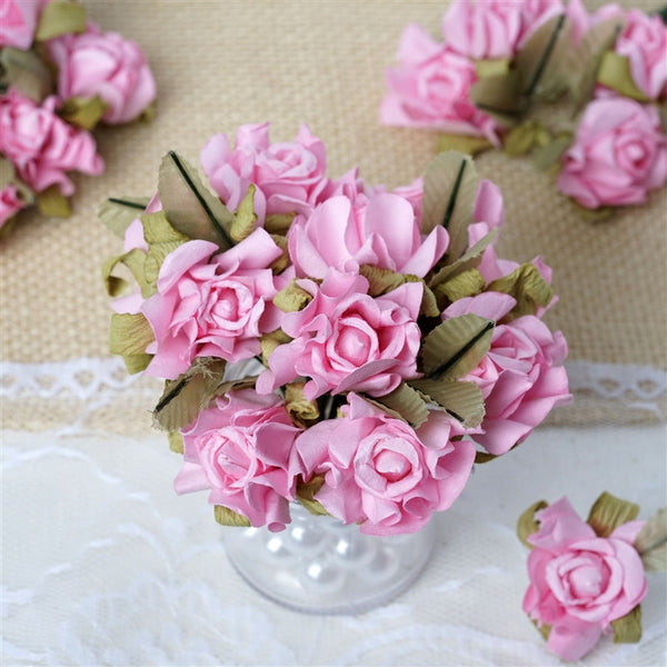 60 Pink Mini Paper Rose Flowers Corsage and Boutonniere Wedding Home Craft Decor