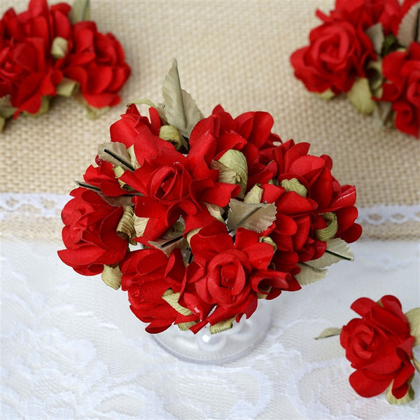 60 Red Mini Paper Rose Flowers Corsage and Boutonniere Wedding Home Craft Decor