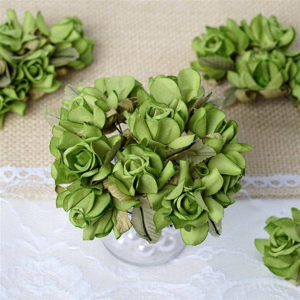 60 Sage Green Mini Paper Rose Flowers Corsage and Boutonniere Wedding Home Craft Decor