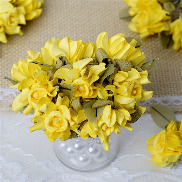 60 Yellow Mini Paper Rose Flowers Corsage and Boutonniere Wedding Home Craft Decor