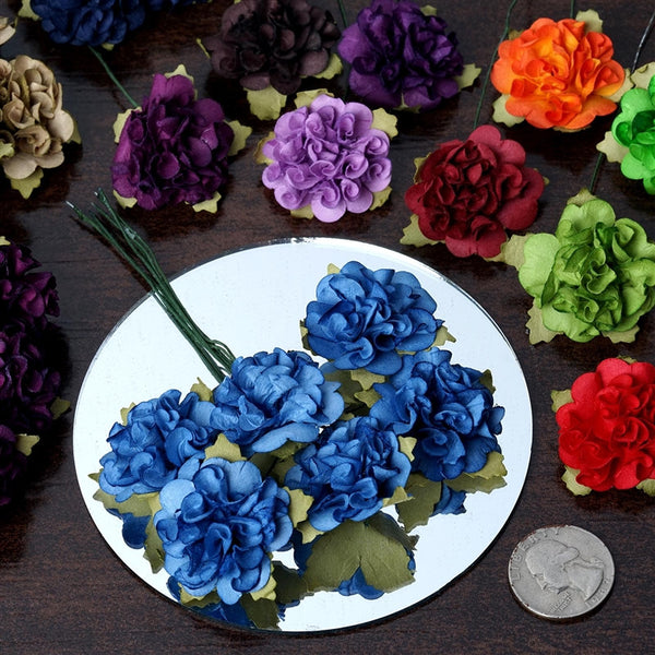 72 Black Paper Mini Carnation Flowers For DIY Corsage and Boutonniere Wedding Craft