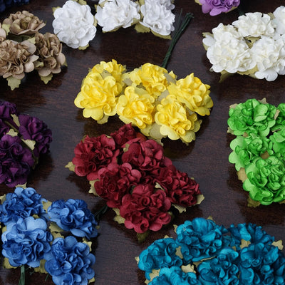 72 Baby Blue Paper Mini Carnation Flowers For DIY Corsage and Boutonniere Wedding Craft