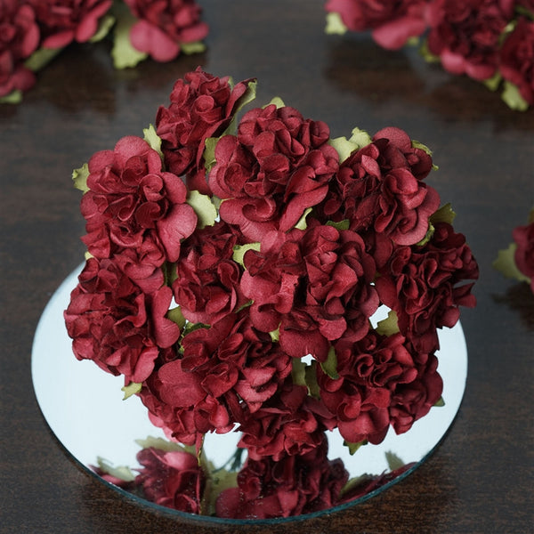 72 Burgundy Paper Mini Carnation Flowers For DIY Corsage and Boutonniere Wedding Craft