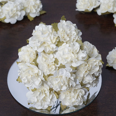 72 Ivory Paper Mini Carnation Flowers For DIY Corsage and Boutonniere Wedding Craft