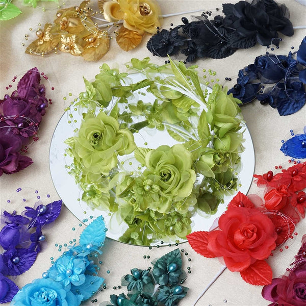 "12 Pack 8"" Apple Green Bridal Hair Side Comb Floral Barrette Headpiece Wedding Accessory"