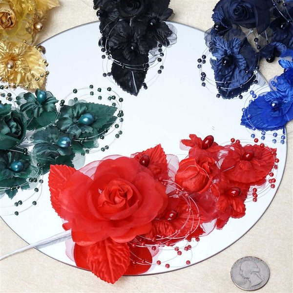 "12 Pack 8"" Royal Blue Bridal Hair Side Comb Floral Barrette Headpiece Wedding Accessory"