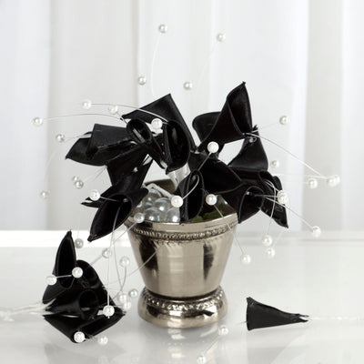 72 Poly Black Calla Lily Bead Flowers With Pearl Spray For Wedding Home Craft Decor