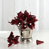 72 Poly Burgundy Calla Lily Bead Flowers With Pearl Spray For Wedding Home Craft Decor