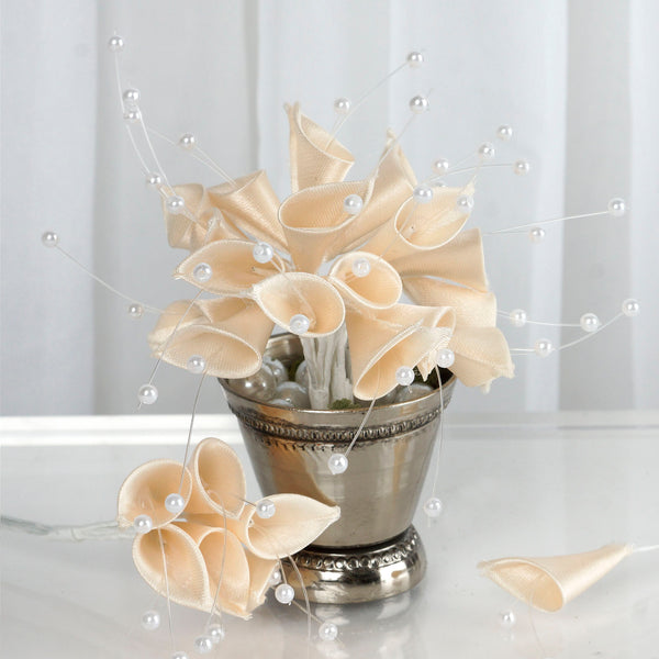 72 Poly Champagne Calla Lily Bead Flowers With Pearl Spray For Wedding Home Craft Decor