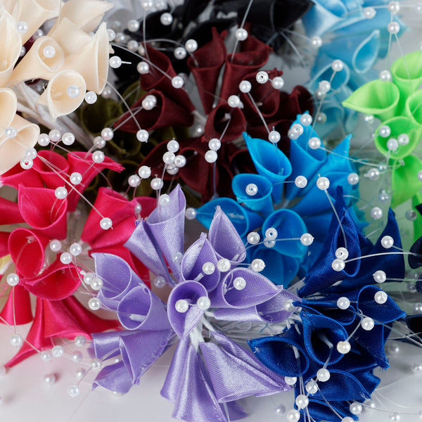72 Poly Chocolate Calla Lily Bead Flowers With Pearl Spray For Wedding Home Craft Decor