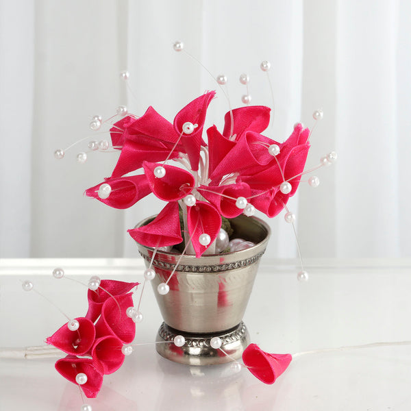 72 Poly Fushia Calla Lily Bead Flowers With Pearl Spray For Wedding Home Craft Decor