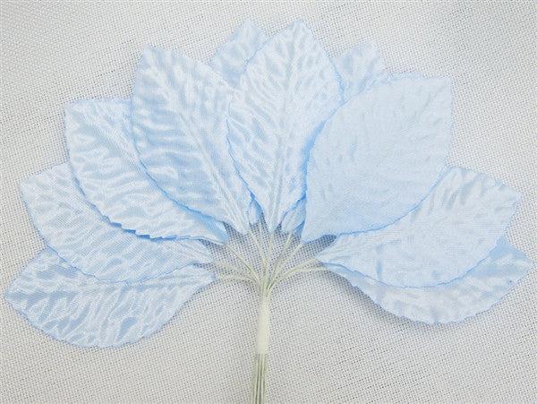 144 Light Blue Satin Corsage and Boutonniere Wired Craft Leafs DIY Wedding Projects