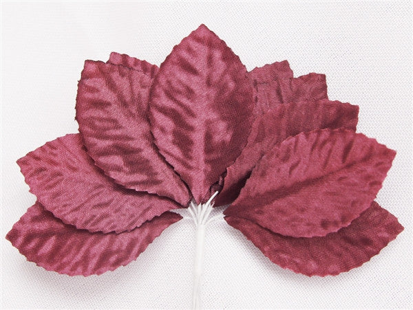 144 Burgundy Satin Corsage and Boutonniere Wired Craft Leafs DIY Wedding Projects