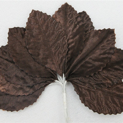 144 Chocolate Satin Corsage and Boutonniere Wired Craft Leafs DIY Wedding Projects
