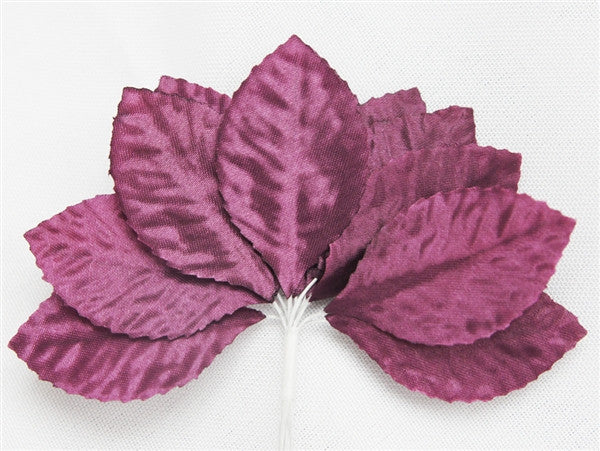 144 Eggplant Satin Corsage and Boutonniere Wired Craft Leafs DIY Wedding Projects