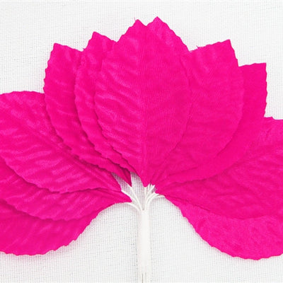 144 Fushia Satin Corsage and Boutonniere Wired Craft Leafs DIY Wedding Projects
