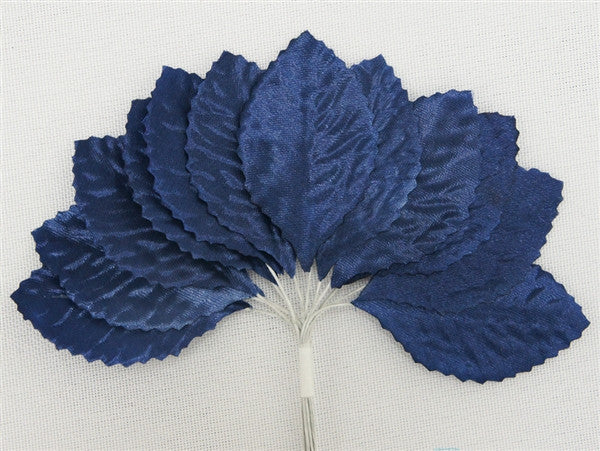 144 Navy Blue Satin Corsage and Boutonniere Wired Craft Leafs DIY Wedding Projects